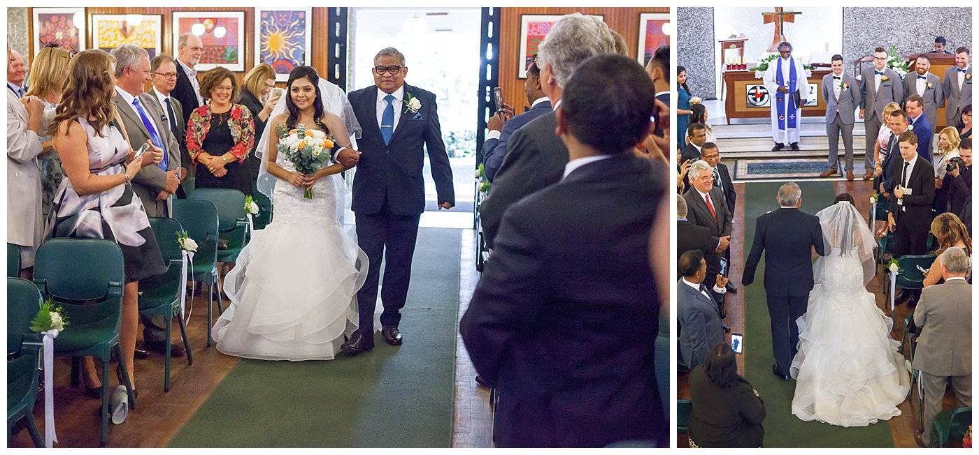 Father walking bride down the aisle at Wesley College Church in South Perth