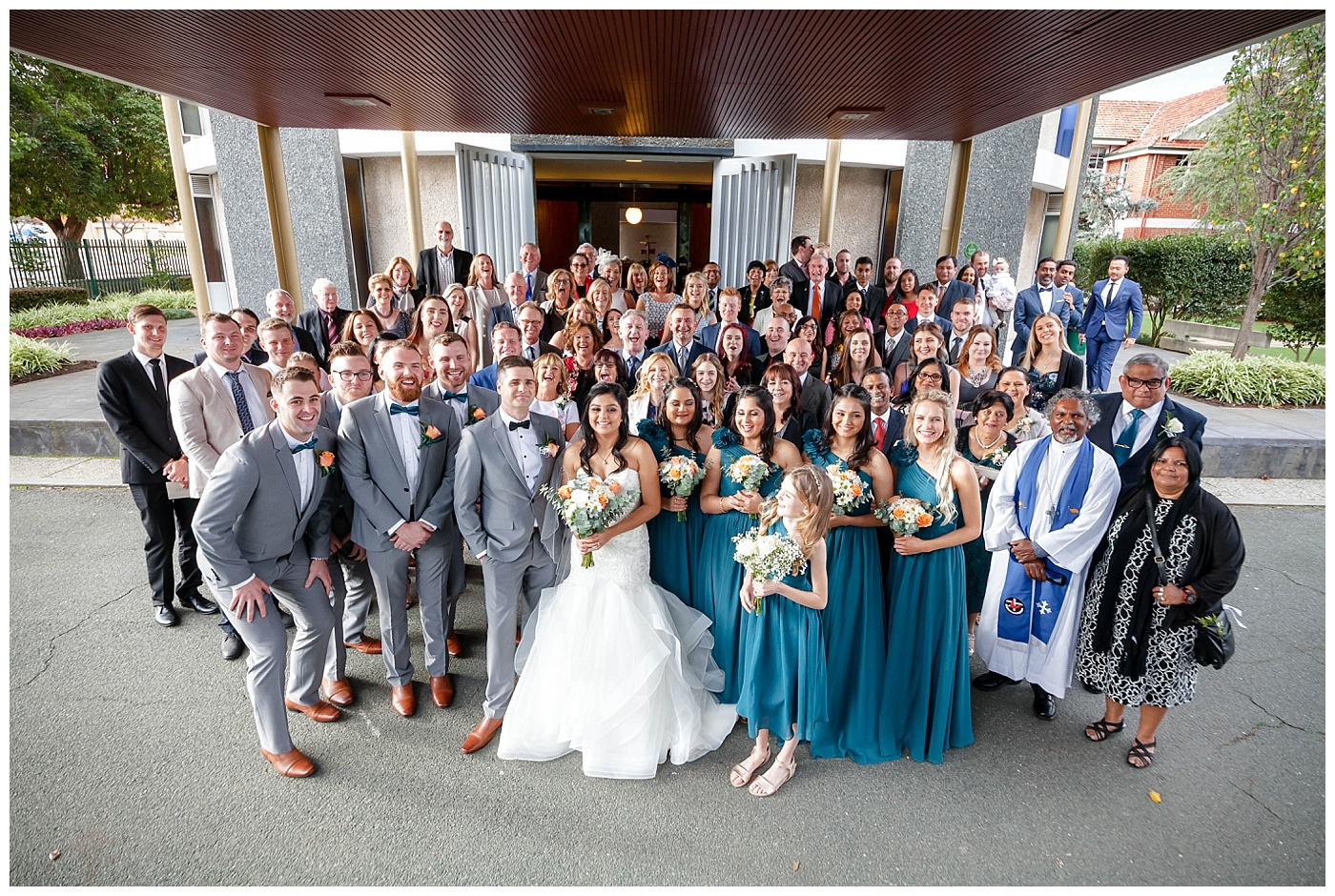 Wedding guests group photo at Bride and Groom at Wesley College Church in South Perth