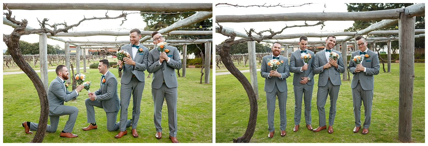 Groomsmen sillyness at Sandalford Winery in The Swan Valley