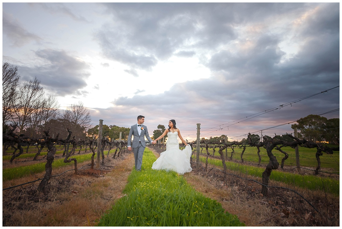 Bride and groom at Sandalford Winery in The Swan Valley