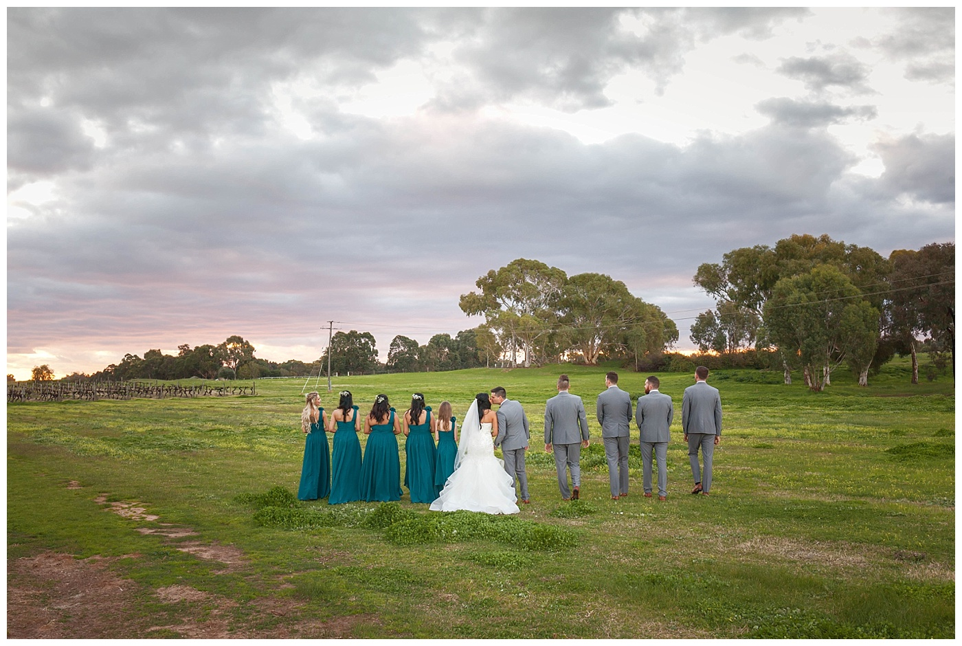 Bridal Party with epic sky at Sandalford Winery in The Swan Valley